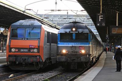 SNCF 72189, Paris Est, 1547 16.42 to Belfort .... 26155 alongside on ECS - 28/01/17.
