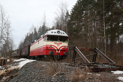 """VR Dr13 2343, Lohikoski (truncated branch of the old main line alignment North of Jyväskylä), MUS1921 BLS """"Central/Northern Finland Freight Line Railtour"""" Day 1 - 20/04/18"""