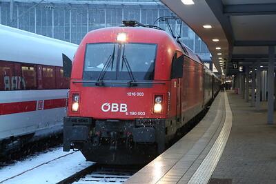 ÖBB 1216 003, München Hbf, EC287 17.34 to Innsbruck - 20/02/18