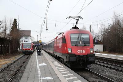 ÖBB 1116 124, Prien am Chiemsee, EC113 08.20 Frankfurt(Main)-Klagenfurt - 16/02/18