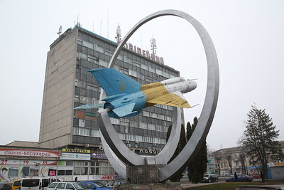ex-Ukrainian Air Force Mikoyan-Gurevich MiG-21PFM, 98Blue, plinthed in Vinnytsia town centre - 29/03/18