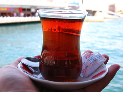 Turkish tea with Gulata Bridge, Istanbul