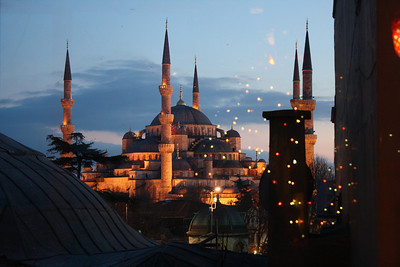 The Blue Mosque with reflection of Christmas lights, Istanbul
