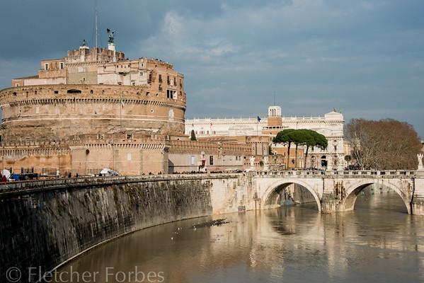 Castel Saint Angelo, on the Tiber river.