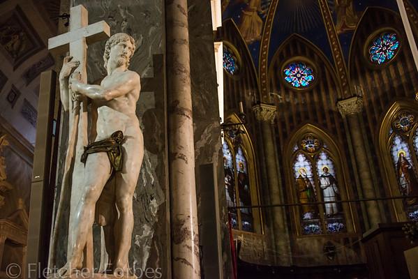 "Michelangelo's ""Risen Christ"", in the Santa Maria Sopra Minerva church, built around 1280. It housed the Inquisition in the 1600's."