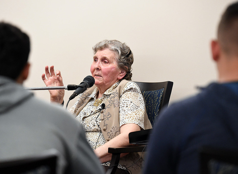 Eva Schumacher, a Good Samaritan Village resident, shares her story about her and her family's time in a Serbian war camp whne she was young with Mountain View High students Tuesday, April 16, 2018, at Good Samaritan in Loveland.  (Photo by Jenny Sparks/Loveland Reporter-Herald)