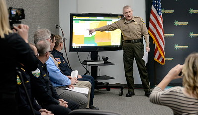 Butte County Sheriff Kory Honea speaks during a press conference at the Butte County Sheriff's Dept. in Oroville to discuss Butte County evacuation plans Thurs. March 9, 2017. (Bill Husa / Chico Enterprise-Record)