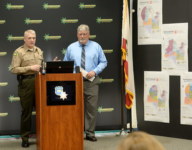 Butte County Sheriff Kory Honea and DWR Acting Directory Bill Croyle answer questions during a press conference at the Butte County Sheriff's Dept. in Oroville to discuss Butte County evacuation plans Thurs. March 9, 2017. (Bill Husa / Chico Enterprise-Record)