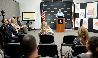 DWR Acting Director Bill Croyle speaks during a press conference at the Butte County Sheriff's Dept. in Oroville to discuss Butte County evacuation plans Thurs. March 9, 2017. (Bill Husa / Chico Enterprise-Record)