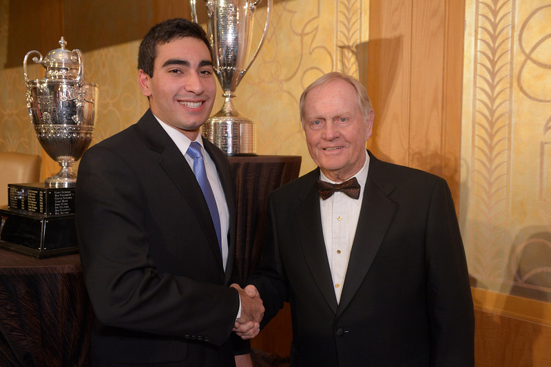 Evans Scholar Mark Abtahi and Jack Nicklaus<br /> Green Coat Gala at The Peninsula Hotel on Nov. 6, 2013<br /> ©Charles Cherney Photography