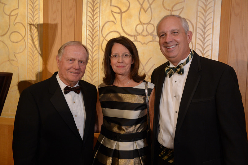 Jack Nicklaus, Nancy Mitchell and Dennis Mitchell<br /> Green Coat Gala at The Peninsula Hotel on Nov. 6, 2013<br /> ©Charles Cherney Photography
