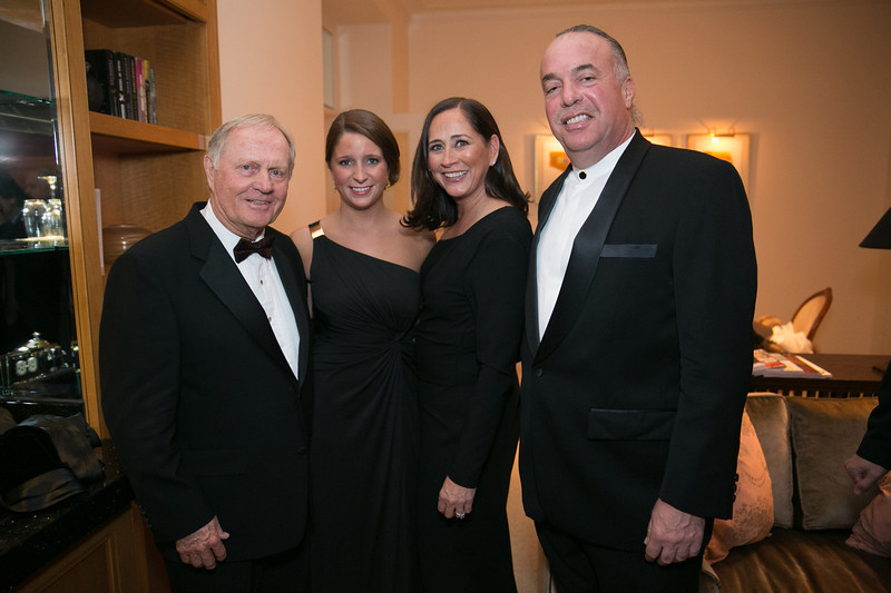 Jack Nicklaus, Andrea Antoniou, Jean Antoniou and Andy Antoniou <br /> Green Coat Gala at The Peninsula Hotel on Nov. 6, 2013<br /> ©Charles Cherney Photography