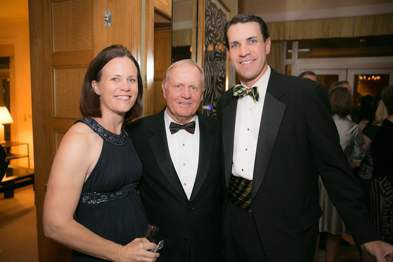 Amy Boehm, Jack Nicklaus and Chris Boehm<br /> Green Coat Gala at The Peninsula Hotel on Nov. 6, 2013<br /> ©Charles Cherney Photography