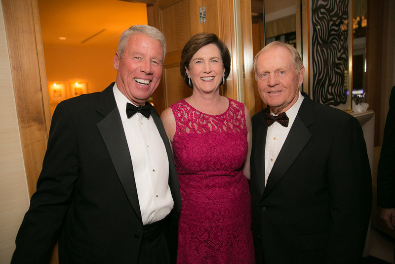 Dennis O'Keefe, Kathy O'Keefe and Jack Nicklaus at the Green Coat Gala at The Peninsula Hotel on Nov. 6, 2013.<br /> ©Charles Cherney Photography