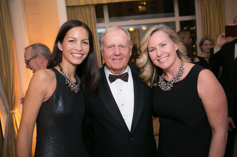 Donna Placios, Jack Nicklaus and Ann Hagerty<br /> Green Coat Gala at The Peninsula Hotel on Nov. 6, 2013<br /> ©Charles Cherney Photography