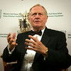 Jack Nicklaus chats with media members Wednesday before being honored at the Western Golf Association's Green Coat Gala at The Peninsula Chicago Hotel on Nov. 6, 2013.<br /> ©Charles Cherney Photography