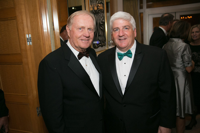 Jack Nicklaus and Pat Muldowney<br /> Green Coat Gala at The Peninsula Hotel on Nov. 6, 2013<br /> ©Charles Cherney Photography
