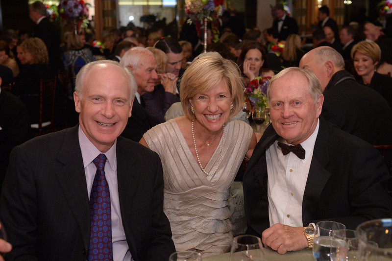 Jude Reyes, Ellen Moore and Jack Nicklaus<br /> Green Coat Gala at The Peninsula Hotel on Nov. 6, 2013<br /> ©Charles Cherney Photography