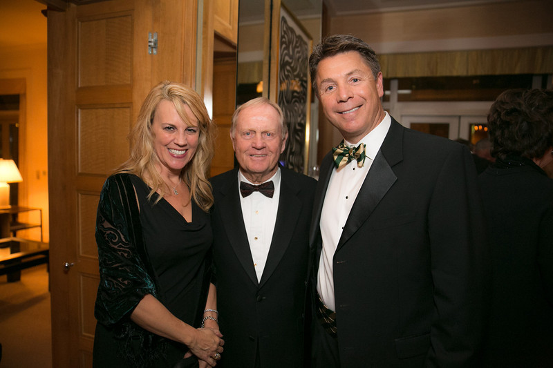 Anita Solich, Jack Nicklaus and Geoff Solich<br /> Green Coat Gala at The Peninsula Hotel on Nov. 6, 2013<br /> ©Charles Cherney Photography