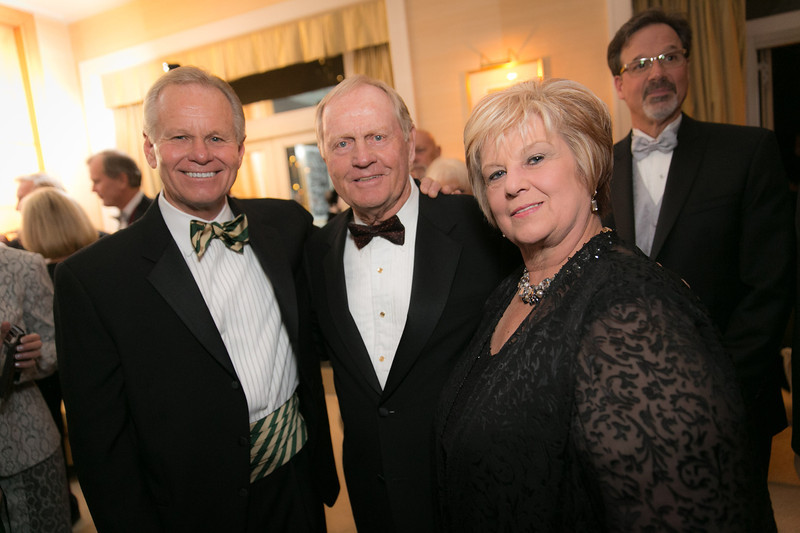 Dave Kallman, Jack Nicklaus and Karen Kallman<br /> Green Coat Gala at The Peninsula Hotel on Nov. 6, 2013<br /> ©Charles Cherney Photography