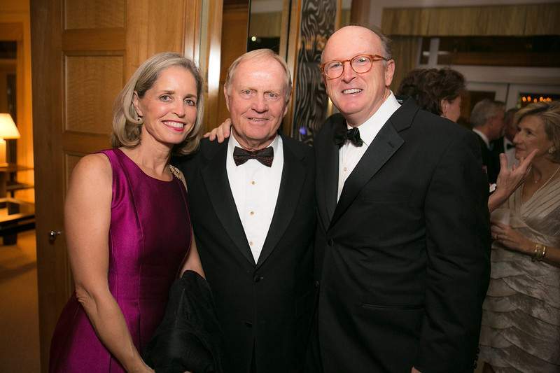 Margy Burke, Jack Nicklaus and Chris Burke<br /> Green Coat Gala at The Peninsula Hotel on Nov. 6, 2013<br /> ©Charles Cherney Photography