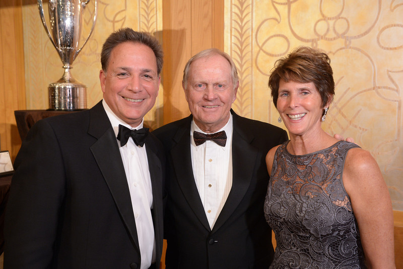 Armond Dinverno, Jack Nicklaus and Kitty Dinverno<br /> Green Coat Gala at The Peninsula Hotel on Nov. 6, 2013<br /> ©Charles Cherney Photography