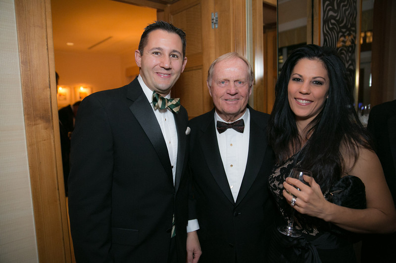 Vince Pellegrino, Jack Nicklaus and Stephanie Pellegrino<br /> Green Coat Gala at The Peninsula Hotel on Nov. 6, 2013<br /> ©Charles Cherney Photography