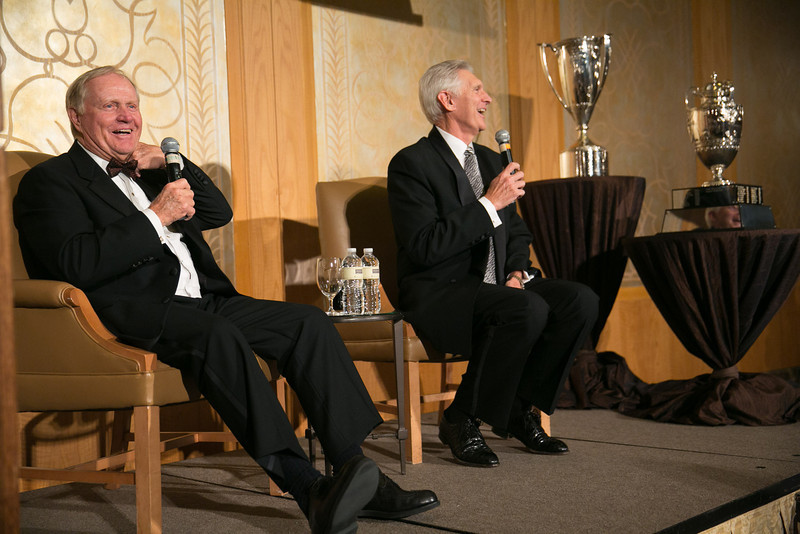 Jack Nicklaus and Andy North at the Green Coat Gala at The Peninsula Hotel on Nov. 6, 2013.<br /> ©Charles Cherney Photography