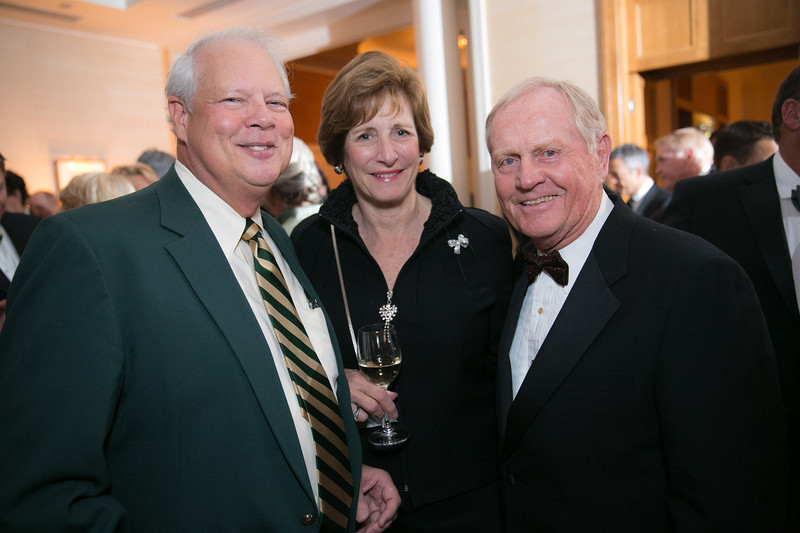 Dan Sandman, Bonnie Sandman and Jack Nicklaus<br /> Green Coat Gala at The Peninsula Hotel on Nov. 6, 2013<br /> ©Charles Cherney Photography
