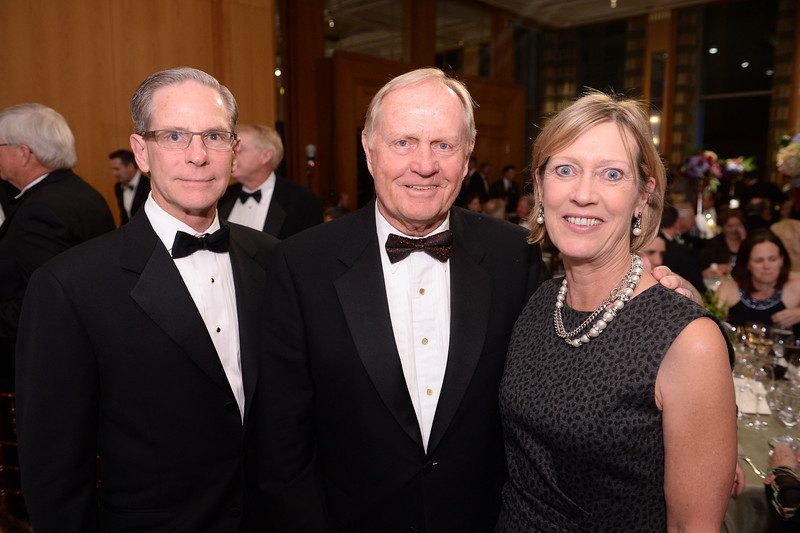 Don Holton, Jack Nicklaus and Valerie Holton<br /> Green Coat Gala at The Peninsula Hotel on Nov. 6, 2013<br /> ©Charles Cherney Photography