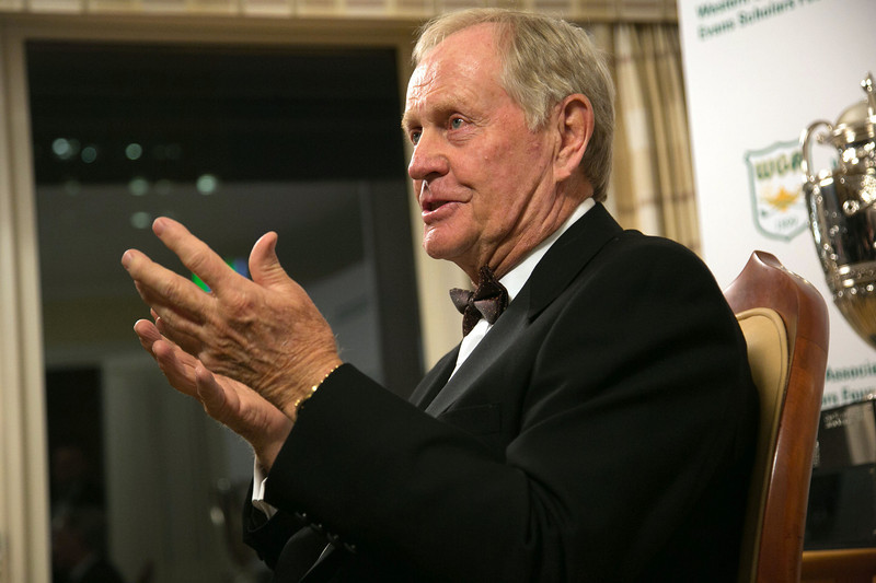 Jack Nicklaus chats with media members before being honored at the Western Golf Association's Green Coat Gala at The Peninsula Chicago Hotel on Nov. 6, 2013.<br /> ©Charles Cherney Photography