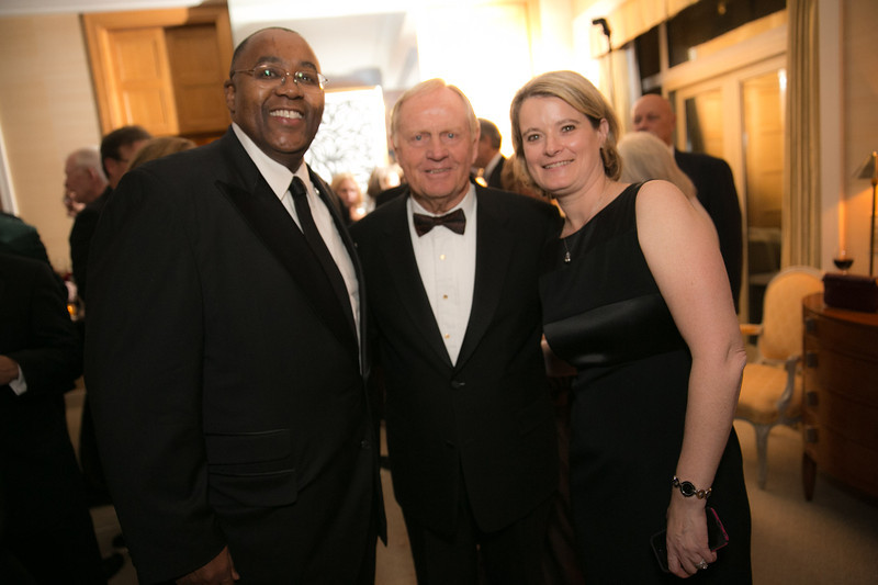 Bill Kelley, Jack Nicklaus and Heather Kelley<br /> Green Coat Gala at The Peninsula Hotel on Nov. 6, 2013<br /> ©Charles Cherney Photography