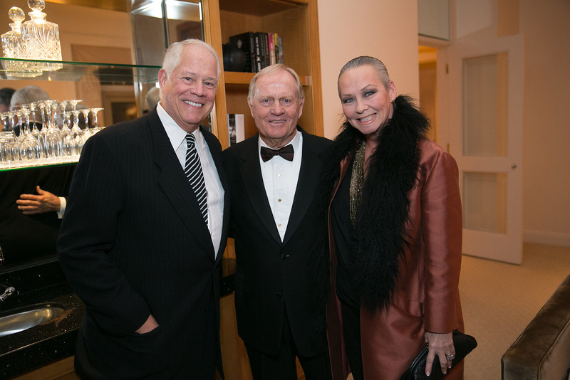 Chuck Jordan, Jack Nicklaus and Candace Jordan<br /> Green Coat Gala at The Peninsula Hotel on Nov. 6, 2013<br /> ©Charles Cherney Photography