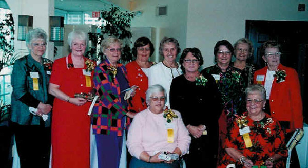 Chapter Advisory Board for 2004 (front l to r) Elaine Chapman and Dolly Haerr (back l to r) Jayne Steiff, Carroll Jenkins, Dolores Higgins, Annette Alberter, Eva Winter, Suzanne Goldman, Norma Holman, Mary Ann Mazzarella and Marie Gartley. Not pictured Karin Bachmann and Shirley Spisak.