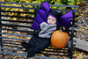 Eve in her bat costume with a pumpkin at the Apple Orchard