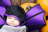 Eve in her bat costume on a pile of pumpkins at the Apple Orchard