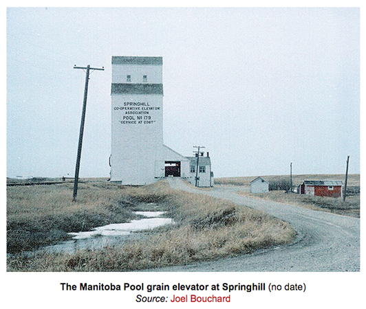 Source:  Joel Bouchard from Winnipeg Manitoba has granted me permission to display an image of his painting on my website.   Springhill, Manitoba is the community that I was raised in and my Father hauled grain there in the Fall.   This elevator was demolished before I was able to take a photograph of it.  <br /> The copyright is that of Joel Bouchard.