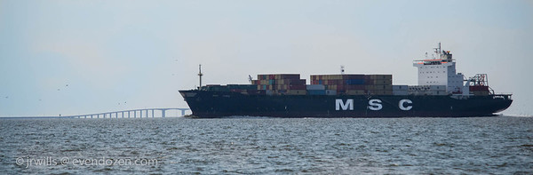 Container ship and Dauphin Island Bridge
