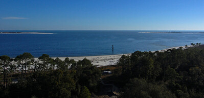 Western tip of Santa Rosa Island & Fort Pickens on left and eastern end Perdido Key on right — from top of Pensacola Lighthouse
