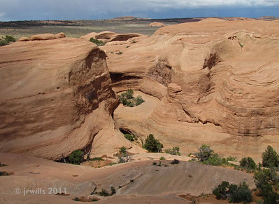 Looking down from Delicate Arch