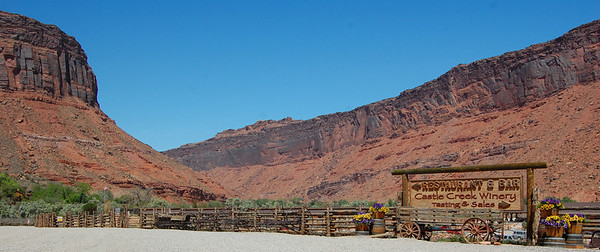 The Castle Creek Winery and Red Cliffs Lodge is at milepost 14 off Hwy 128. We'd heard about it from one of our Moab Hummer Safari companions but hadn't planned on stopping. Glad we did. We had a great lunch on the patio overlooking the Colorado River. http://www.redcliffslodge.com/winery/