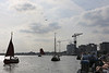 Viering 100 Jaar Internationale Vliegweek in Temse - Zondag 16 september 2012<br /> Historische vaartuigen op de Schelde - Overvlucht 3 tweedekkers van voor WOII - Stampe-Vertongen