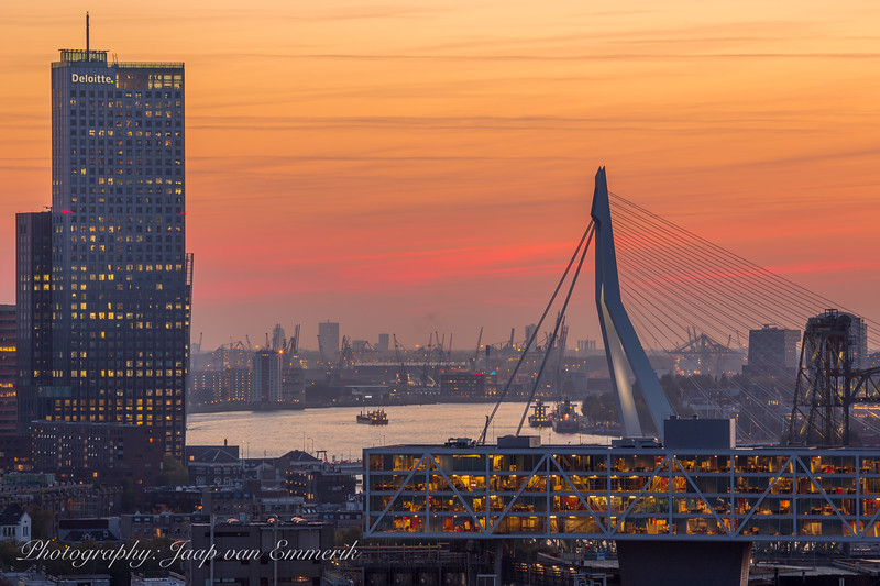 Sunset sky over Rotterdam