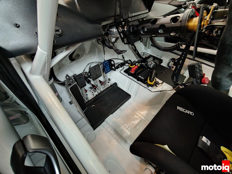 Interior of Veloster TCR showing close up of pedal box