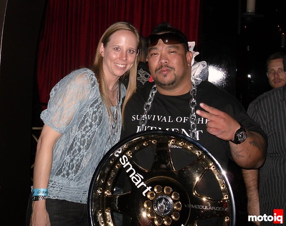 Guy with wheel at Falken party/ LAX at Luxor