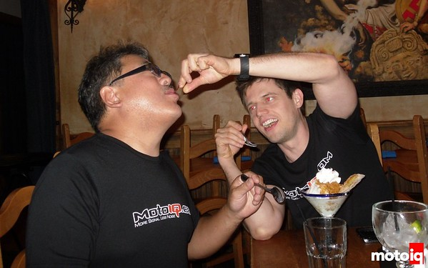 Jeff and Mike sharing dessert