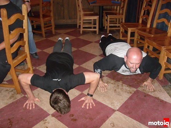 Jeff and George doing sit-ups