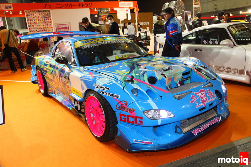 RE Amemiya: Some massaging of the hood required to get a 2JZ into it. RE-Amemiya Kukan Body kit, DG5 coil-over kit, Rays SE37