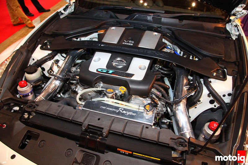 Revyou Z34: It's been a few short years since the newest Z came out. Here's one with GTSC7040 Turbo kit by Garage Revyou. Kit includes Pistons, Turbos, Connecting rods, pipes, inter-cooler, and EX-Manifold.
