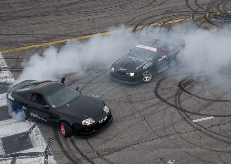 Nissan 240sx and Toyota Supra donuts